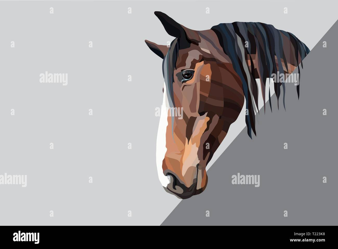 Brown horse head on a grey background - Stock Vector