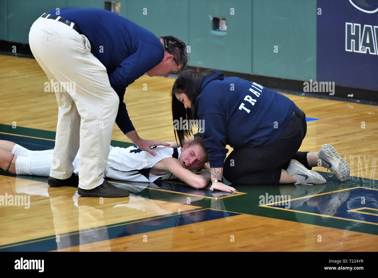 Coach an athletic trainer tend to an injured player on the gym floor. USA. - Stock Image