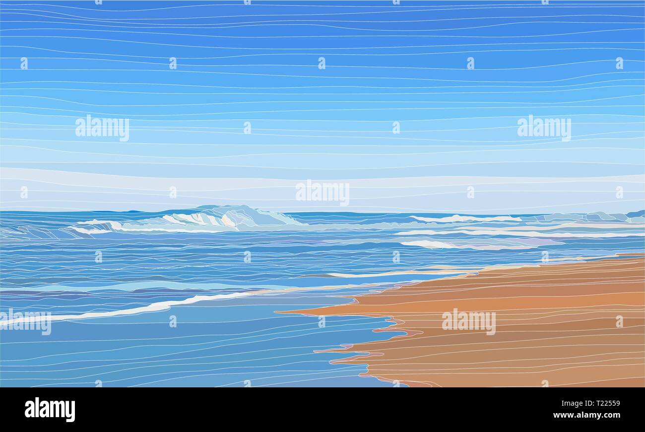 Empty tropical beach, summer vacation or travel background vector illustration - Stock Vector