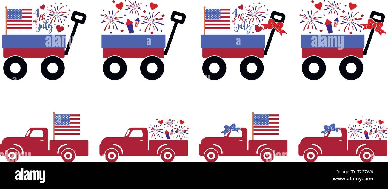 US Independence Day Truck Collection Stock Vector