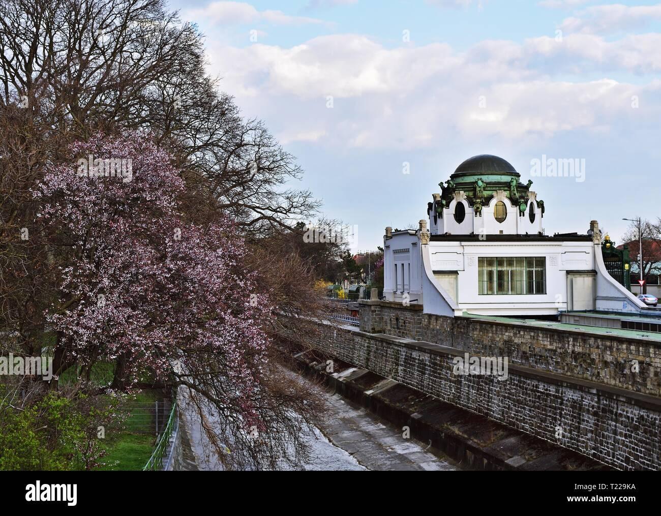 Otto Wagner Hofpavillon Hietzing in Vienna, Austria - Stock Image