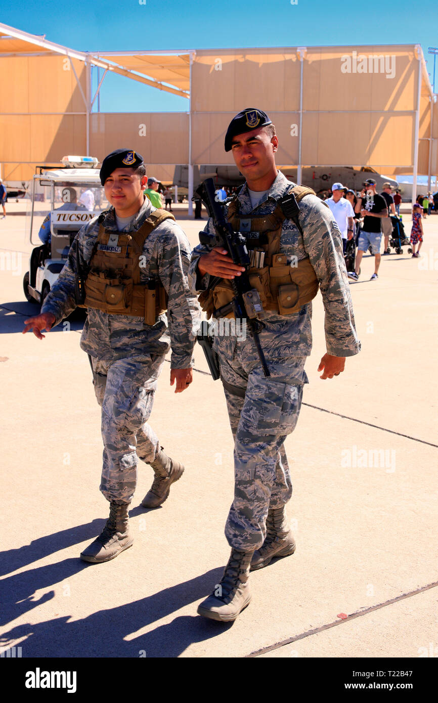 USAF Military Police patrol the Davis-Monthan AFB in Tucson AZ on airshow day - Stock Image