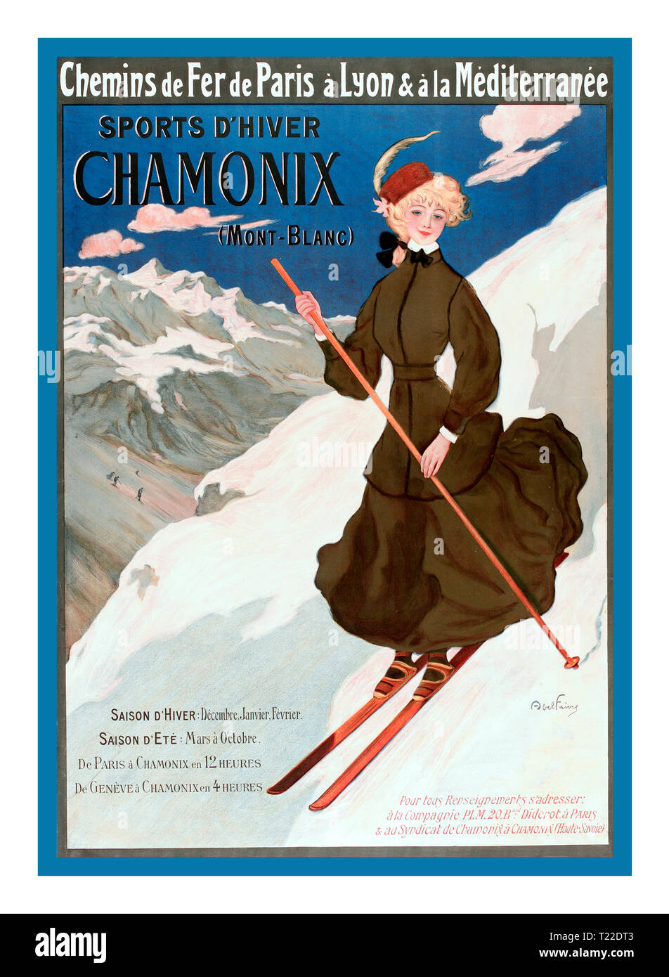Vintage Chamonix French Ski Skiing Poster 1900's By French Railway via Paris Lyon and Mediterranée Sports d'hiver-winter sports. Chamonix (Mont-Blanc) France 1905 - Stock Image