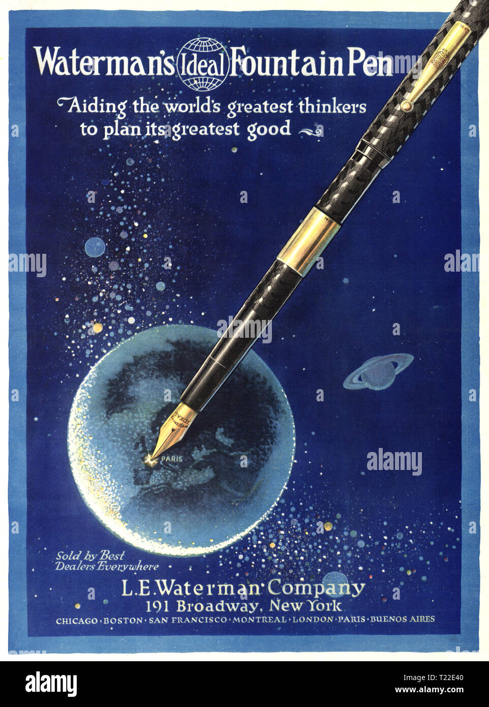 WATERMAN'S FOUNTAIN PEN 1900's Vintage Historic Advertisement for the L. E Waterman Company featuring a fountain pen writing on a world globe 'Aiding the worlds greatest thinkers to plan its greatest good' 13 April 1919 New-York Tribune Broadway New York August 24, 1919 - Stock Image