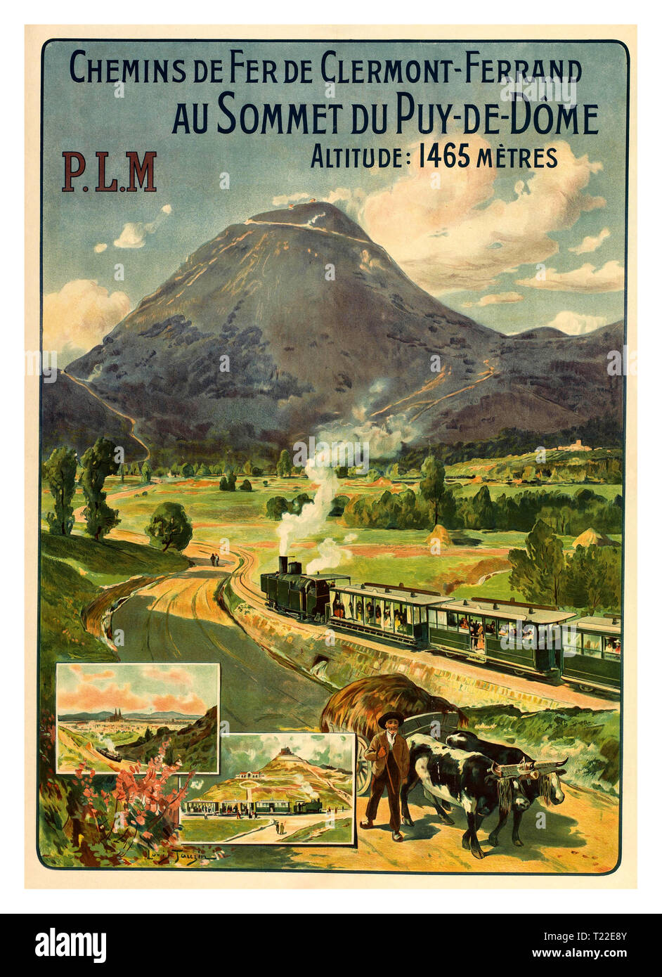 Vintage Rail Travel Poster for the PLM company, the first to operate the Puy-de-Dôme train that ran from 1907 to 1926. Chemins de Fer de Clermont-Ferrand au Sommet du Puy-de-Dôme France Date 1907-1915 by Artist Louis Tauzin - Stock Image