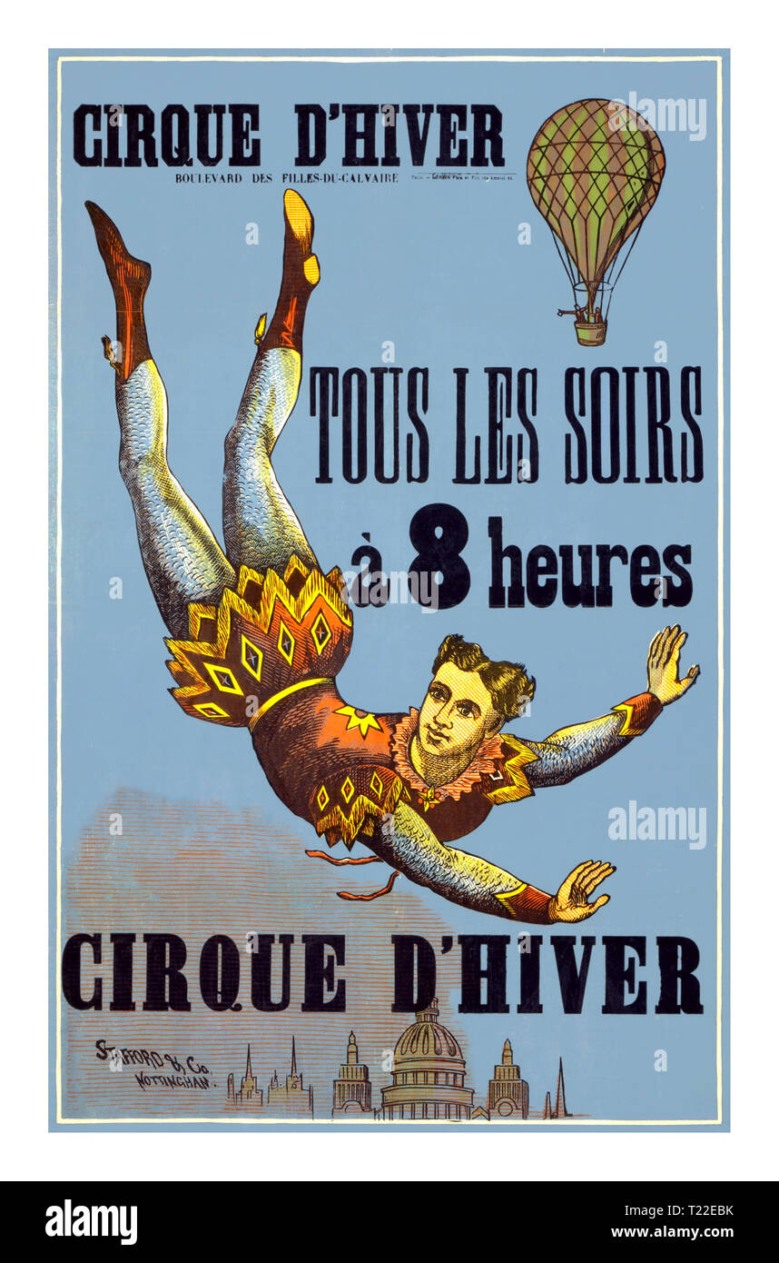 Vintage 1890's Circus Poster for Cirque d'Hiver (winter circus) showing an aerialist floating with arms outstretched above a city skyline with a balloon in the background. 'Cirque d'Hiver, Boulevard des Filles-du-Calvaire, Paris. Tous les soirs à 8 heures (every evening at 8 o'clock).' woodcut colour. Late 19th century poster for the Cirque d'Hiver Paris - Stock Image