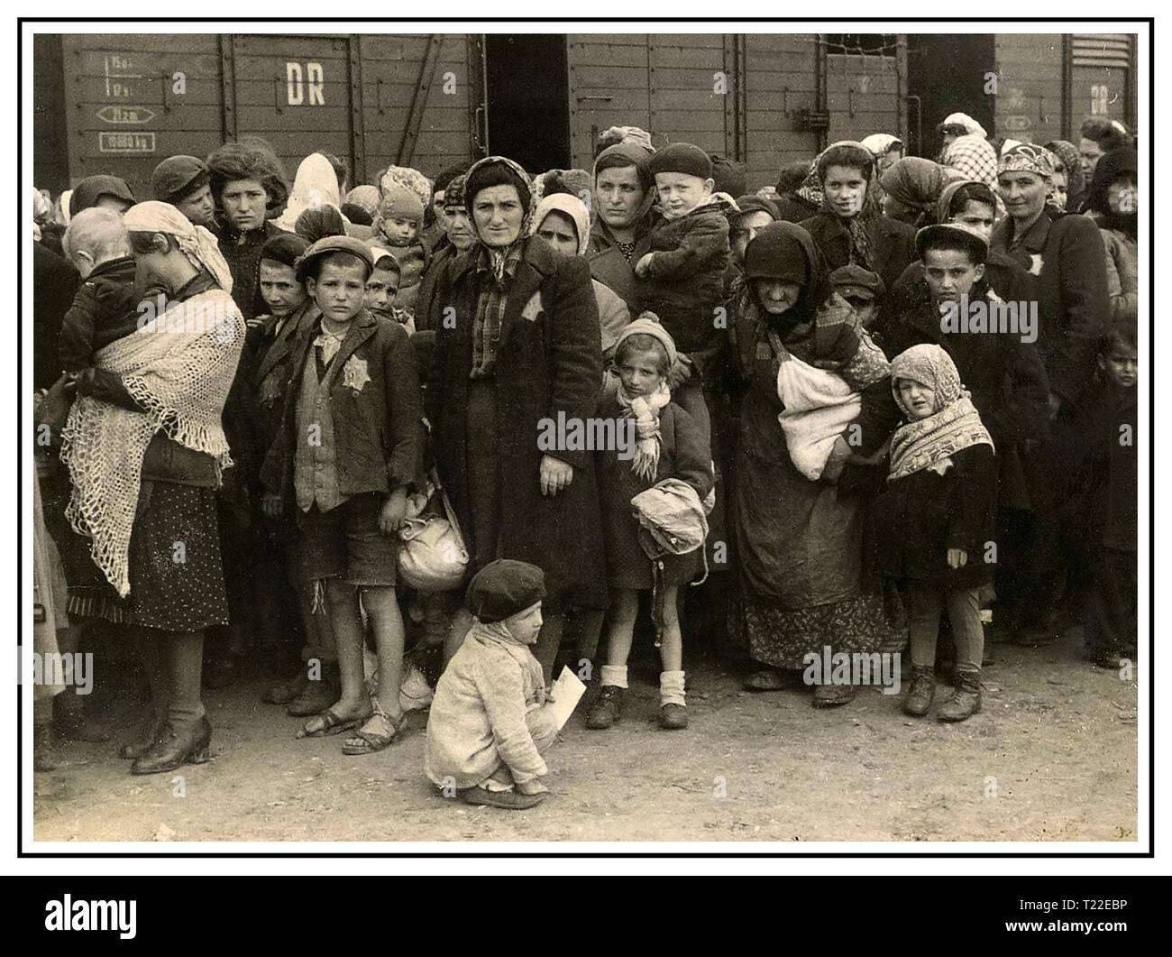 """Auschwitz-Birkenau camp arrivals. Poignant stark image of women & children wearing Nazi designated yellow stars arriving by insanitary cattle trucks in Auschwitz-Birkenau, a WW2 German Nazi Concentration & Extermination camp. Jewish children were the largest group of those deported to the camp along with adults, beginning 1942, as part of  """"final solution of the Jewish question""""—the total destruction of Jewish population of Europe. Auschwitz concentration camp was in a network of  Nazi extermination camps operated by the Third Reich in Polish areas annexed by Nazi Germany during World War II. - Stock Image"""