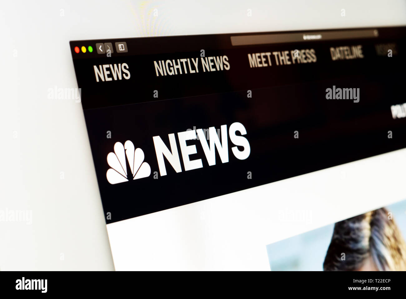 NBC News website homepage. Close up of NBC News channel logo. Сan be used as an illustration for other news media or sites - Stock Image