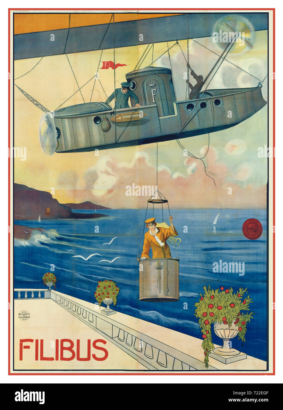 "FILIBUS Vintage 1900's Italian Movie Poster for the 1915 film ""Filibus""  (Corona Films, Italy) Filibus is a 1915 Italian silent adventure film directed by Mario Roncoroni and written by Giovanni Bertinetti. The film features Cristina Ruspoli as the title character, a mysterious sky pirate who makes daring heists with her technologically advanced airship. March 1915 (Italy) - Stock Image"