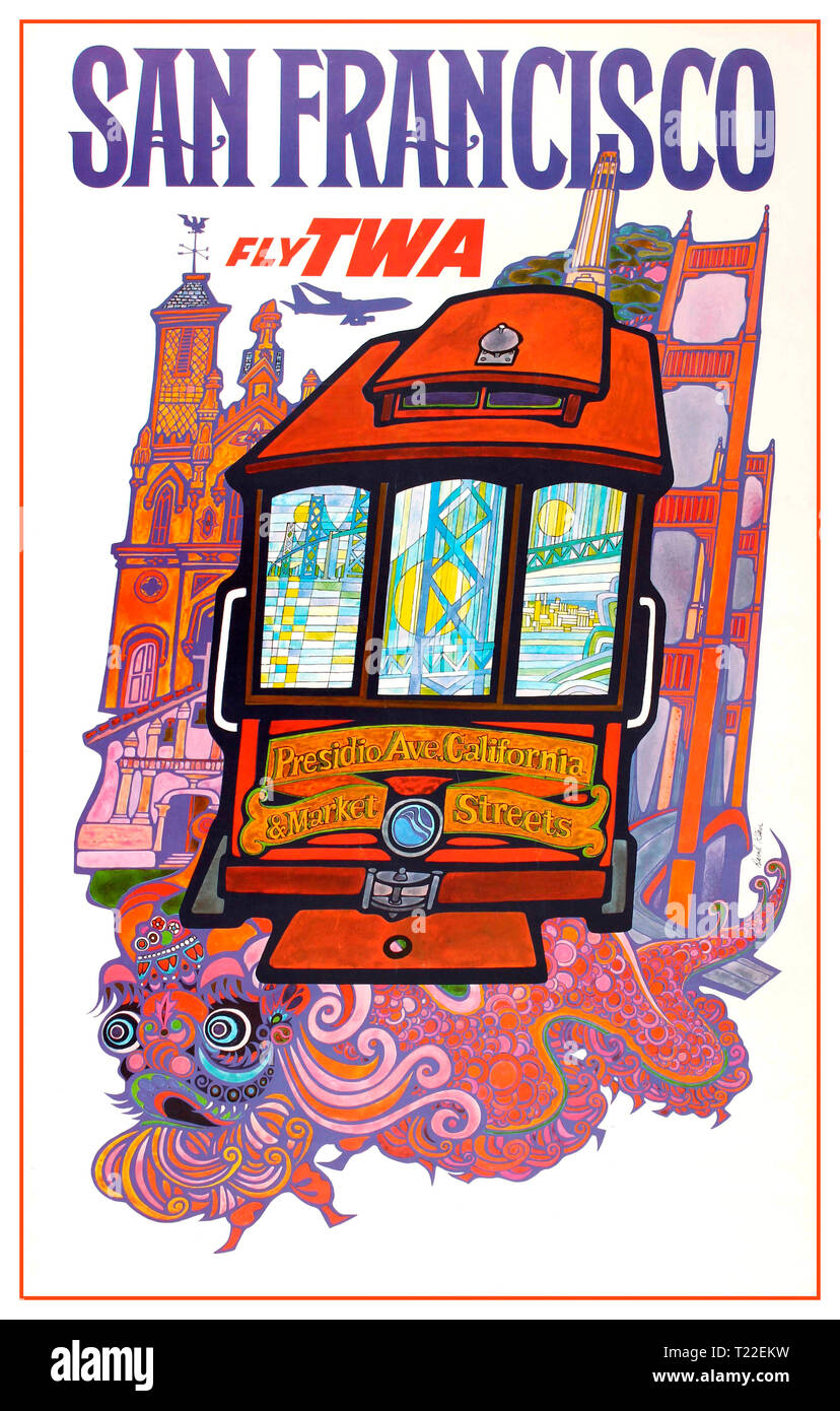 Vintage travel advertising poster for 'San Francisco Fly TWA'. Psychedelic image illustrating a San Francisco tram heading towards Presidio Ave. California & Market Streets surrounded by various landmark buildings and monuments from San Francisco city, including a church and the Golden Gate Bridge reflected in the front windows of the tram with a Chinese dragon below and plane flying overhead next to the stylised title text in blue and red letters. TWA travel advertising posters. USA - Stock Image