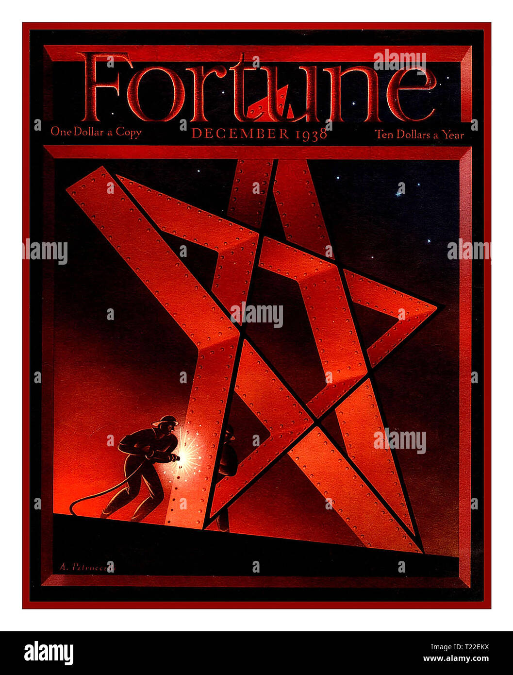 Front Cover FORTUNE Magazine December 1938 featuring a conceptual metalwork girder style Jewish Star of David with construction worker punching in rivets USA - Stock Image