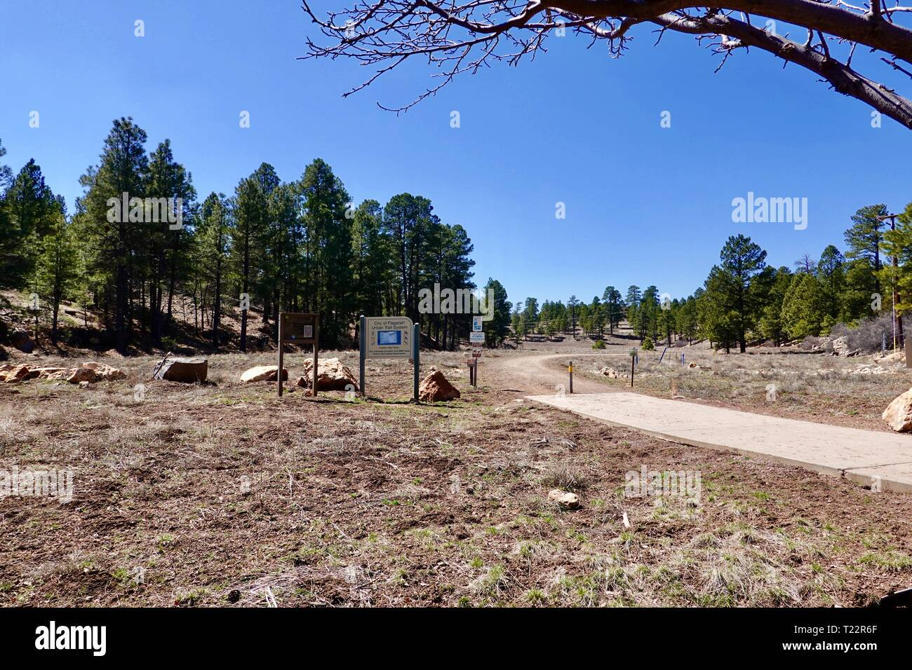 City of Flagstaff, Arizona hiking trail, Urban Train System at Foxglenn Park, Flagstaff, Arizona, USA - Stock Image