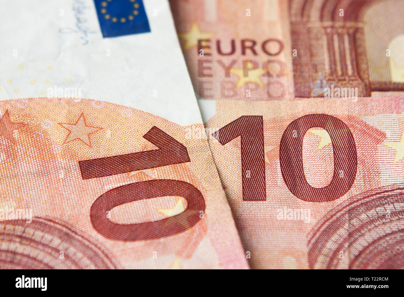 Ten Euro banknote fragment closeup, front side. - Stock Image