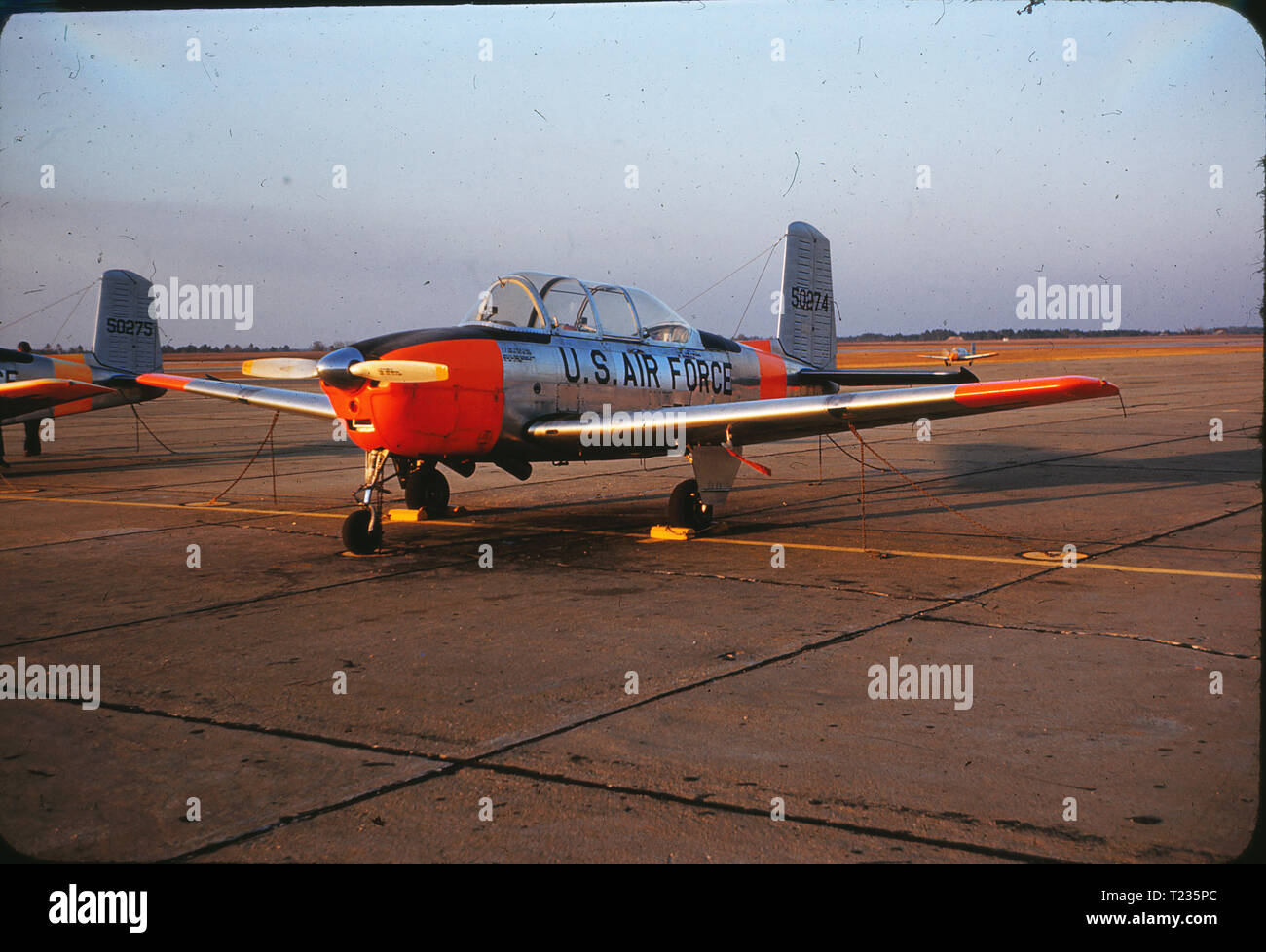 A Beechcraft T-34 Mentor parked at Spence Air Base in February 1959. Spence Air Base in Moultrie, GA was used as a US Air Force private contractor operated fight training school from 1951 to 1961, when the field was returned to civilian control. - Stock Image