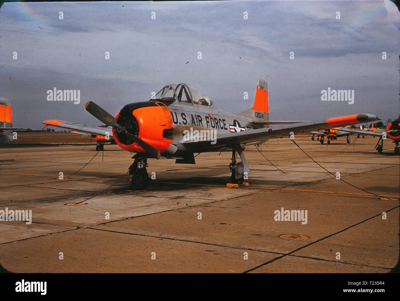 A North American T-28 Trojan parked at Spence Air Base in February 1959. Spence Air Base in Moultrie, GA was used as a US Air Force private contractor operated fight training school from 1951 to 1961, when the field was returned to civilian control. - Stock Image