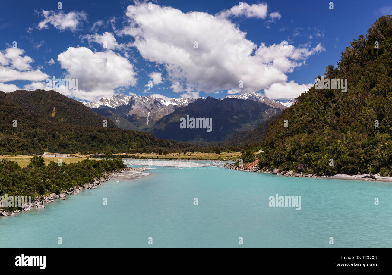 Whataroa River in New Zealand - Stock Image