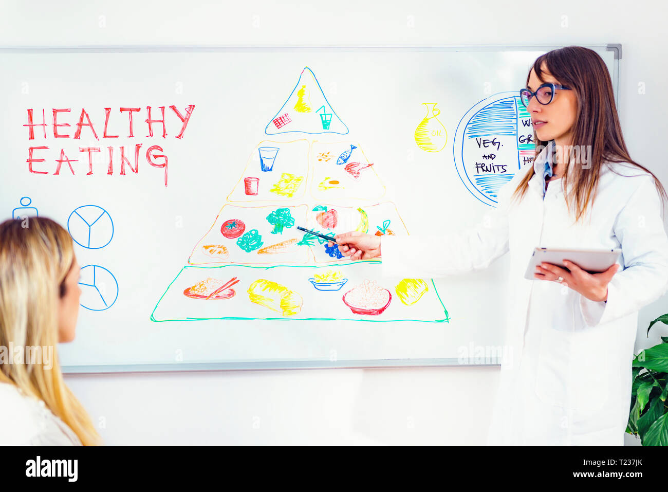 Nutritionist with female patient. - Stock Image