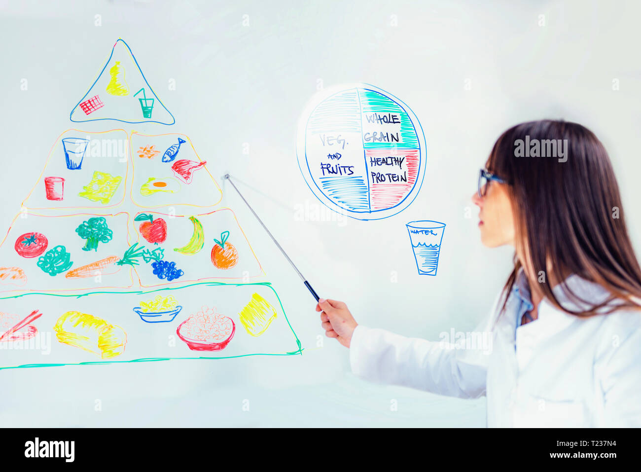 Nutritionist with food pyramid. - Stock Image