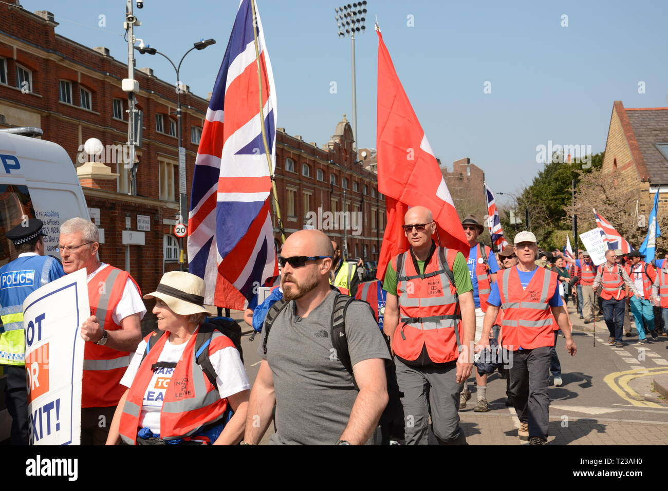 Leave Means Leave Rally on the day the UK was supposed to leave the EU - 29th March 2019. March to Leave arrives at Craven Cottage. - Stock Image