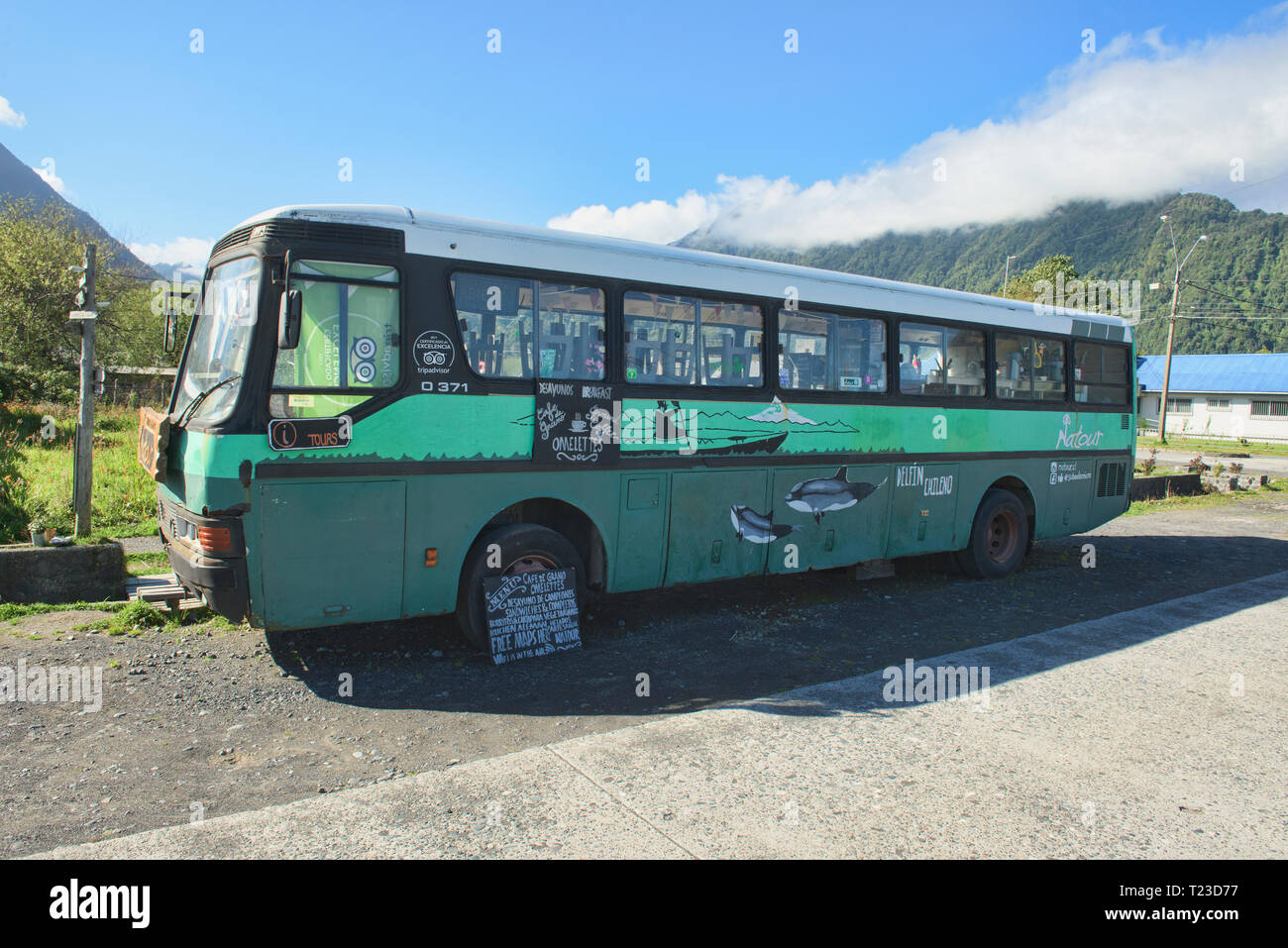 Breakfast bus, Chaitén, Patagonia, Chile - Stock Image