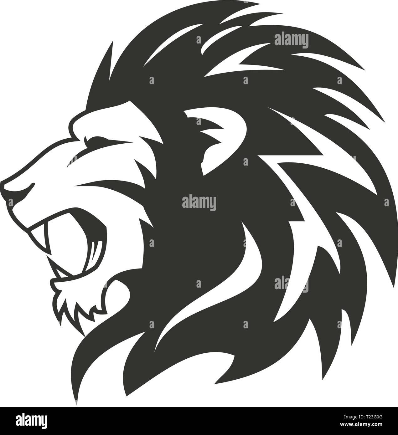 Heraldic lion logo design Stock Vector Art & Illustration