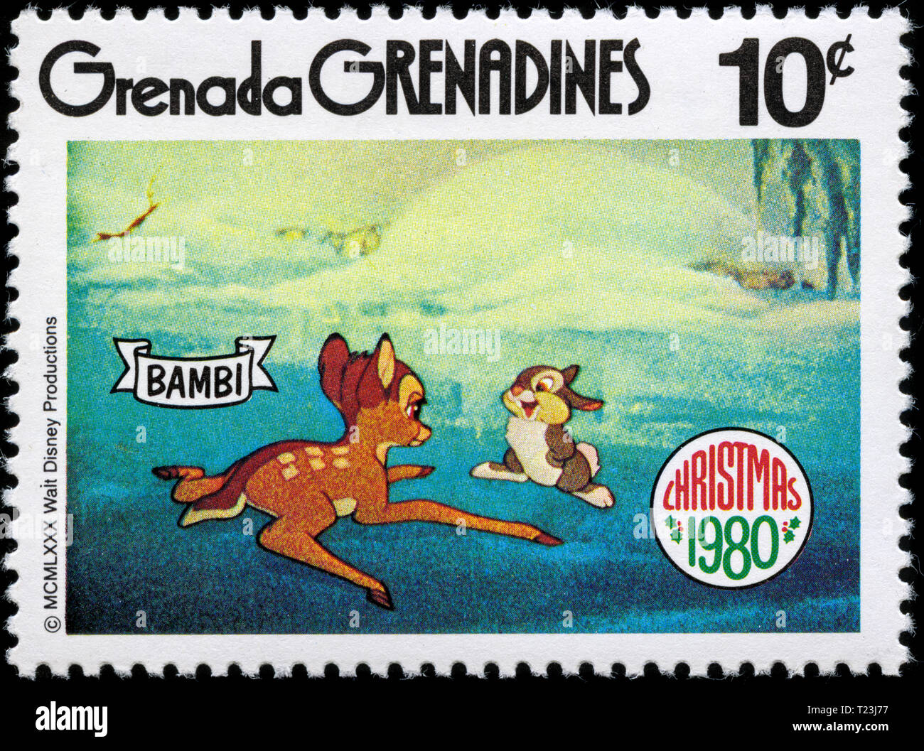 Postage stamp from Grenada Grenadines in the Christmas 1980 series - Stock Image