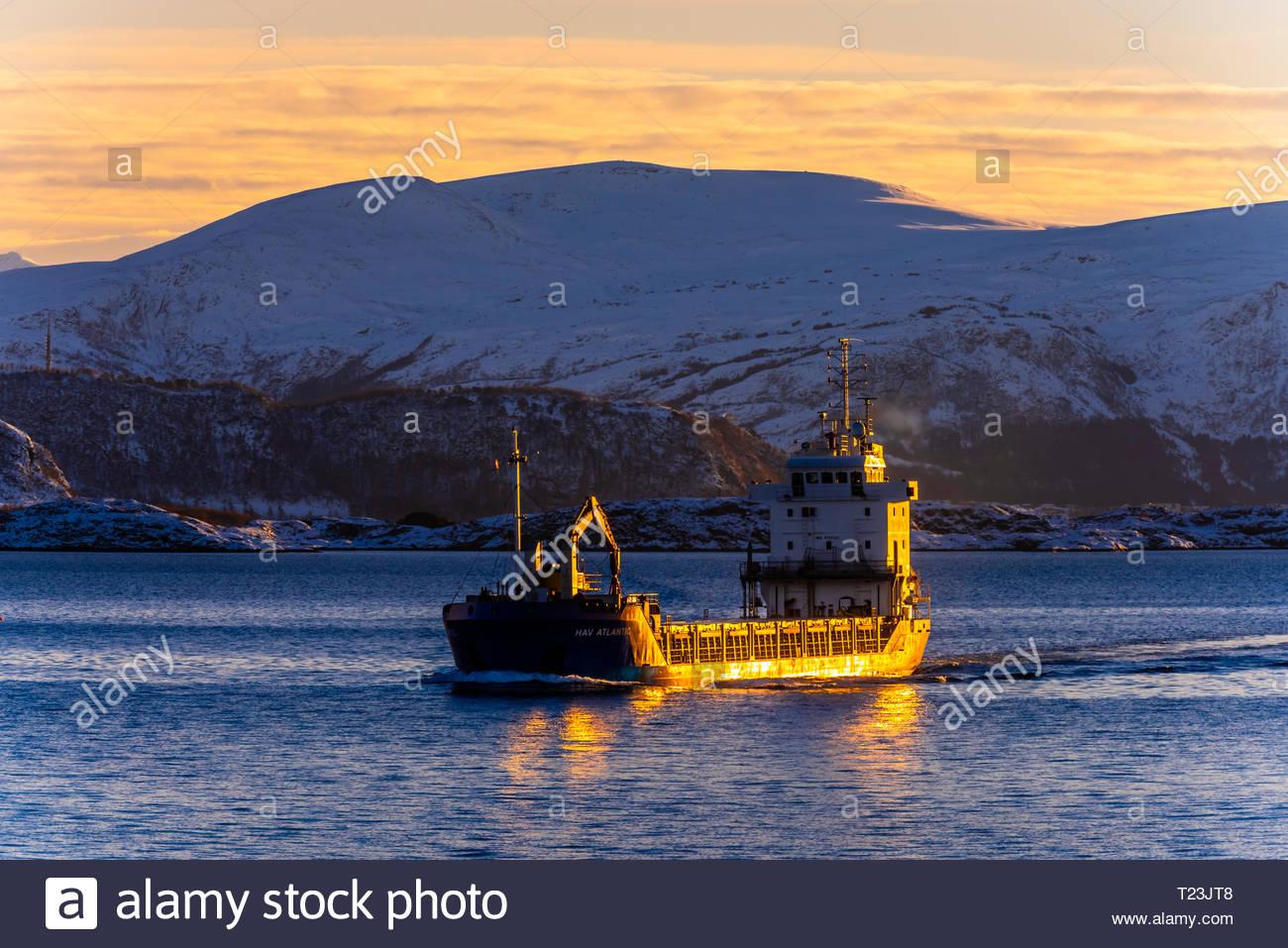 Cargo ship Hav Atlantic off the coast near Alesund, Norway. Stock Photo