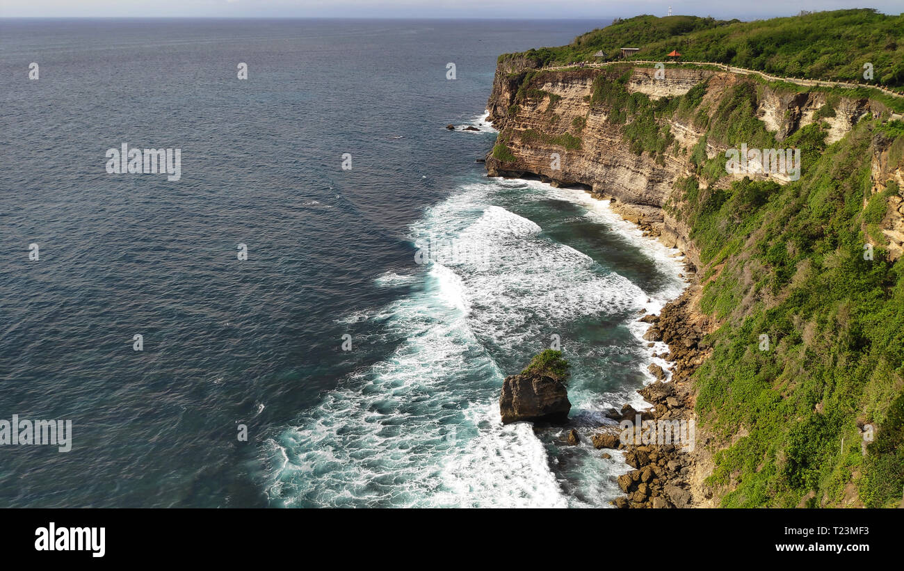 Cliff at Uluwatu Temple or Pura Luhur Uluwatu. One of tourist attraction in Bali Indonesia. Stock Photo
