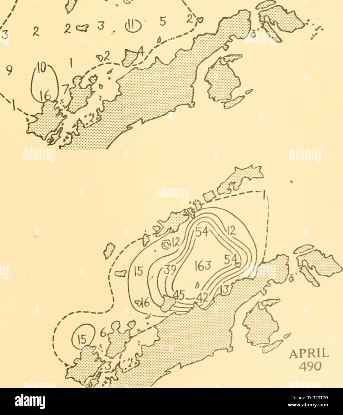 Archive image from page 260 of Discovery reports (1932) Discovery reports  discoveryreports06inst Year: 1932  FEBRUARY 85 SCALE OF NAUTICAL MILES.    APRIL 490 lOO 200 30O Distribution of Blue whales on the South Shetland grounds in season 1925-6 - Stock Image