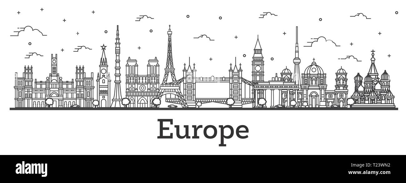 Outline Famous Landmarks in Europe. Vector Illustration. Business Travel and Tourism Concept. Paris, London, Berlin, Moscow, Madrid. - Stock Image