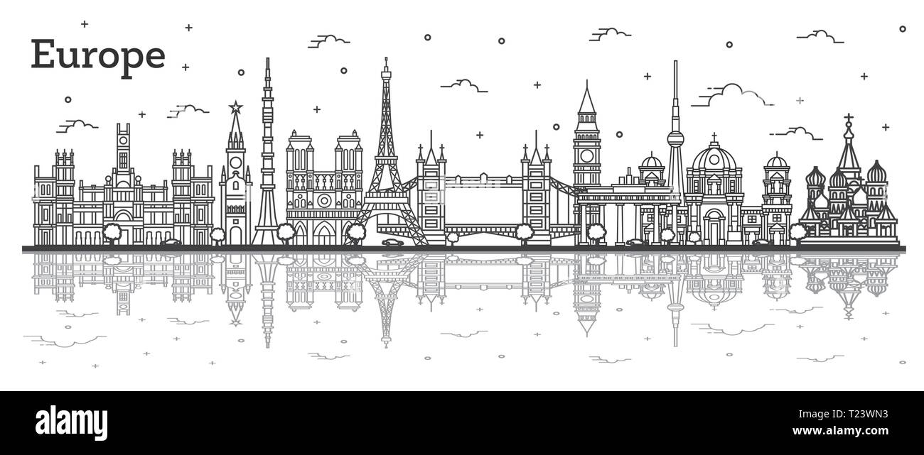Outline Famous Landmarks in Europe with Reflections. Vector Illustration. Business Travel and Tourism Concept. Paris, London, Berlin, Moscow, Madrid. - Stock Image
