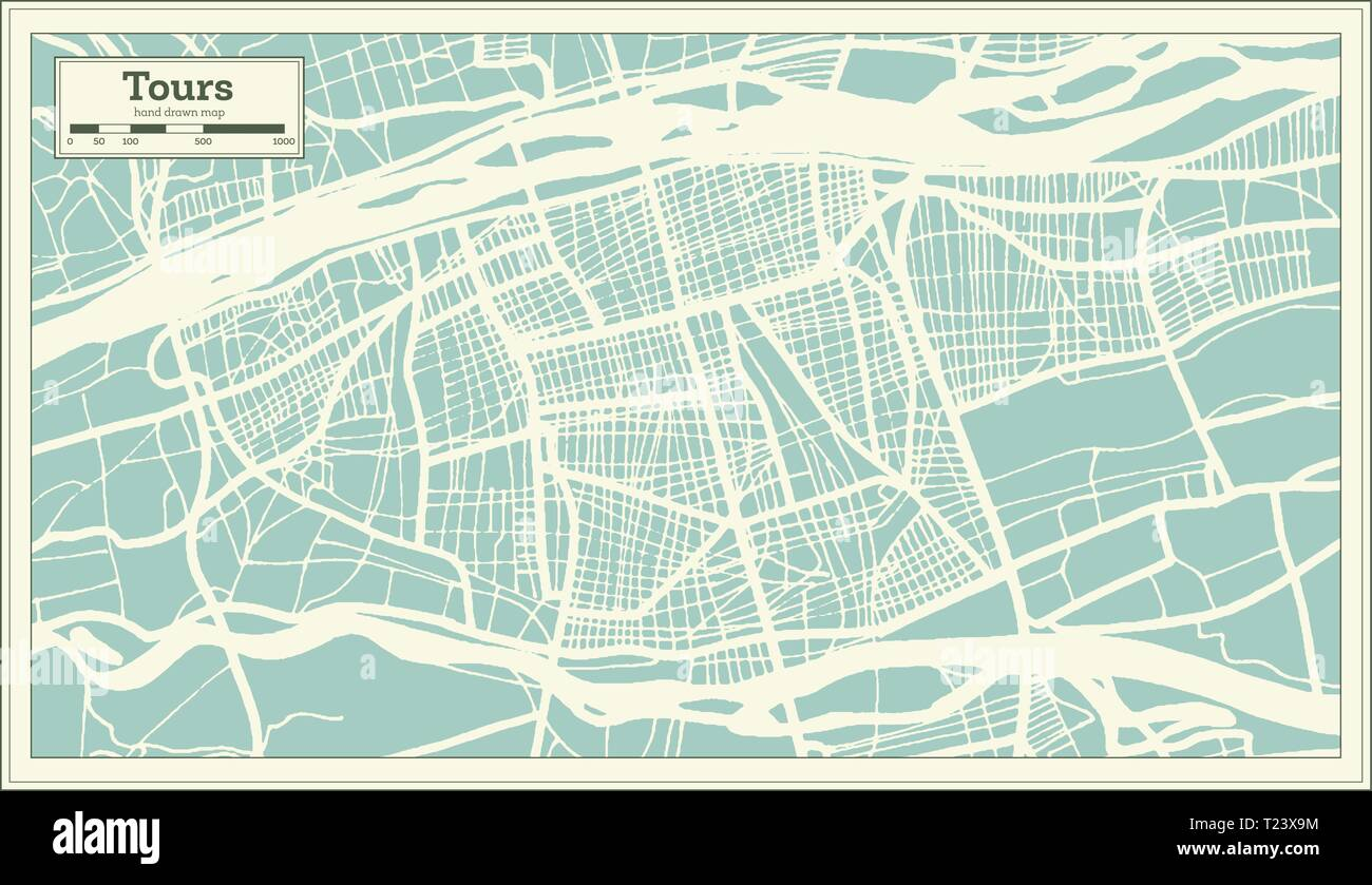 Tours France City Map in Retro Style. Outline Map. Vector Illustration. - Stock Vector