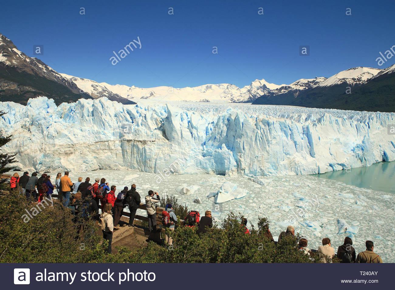 People at a view point on Perito Moreno Glacier, Santa Cruz Province, Patagonia, Argentina Stock Photo