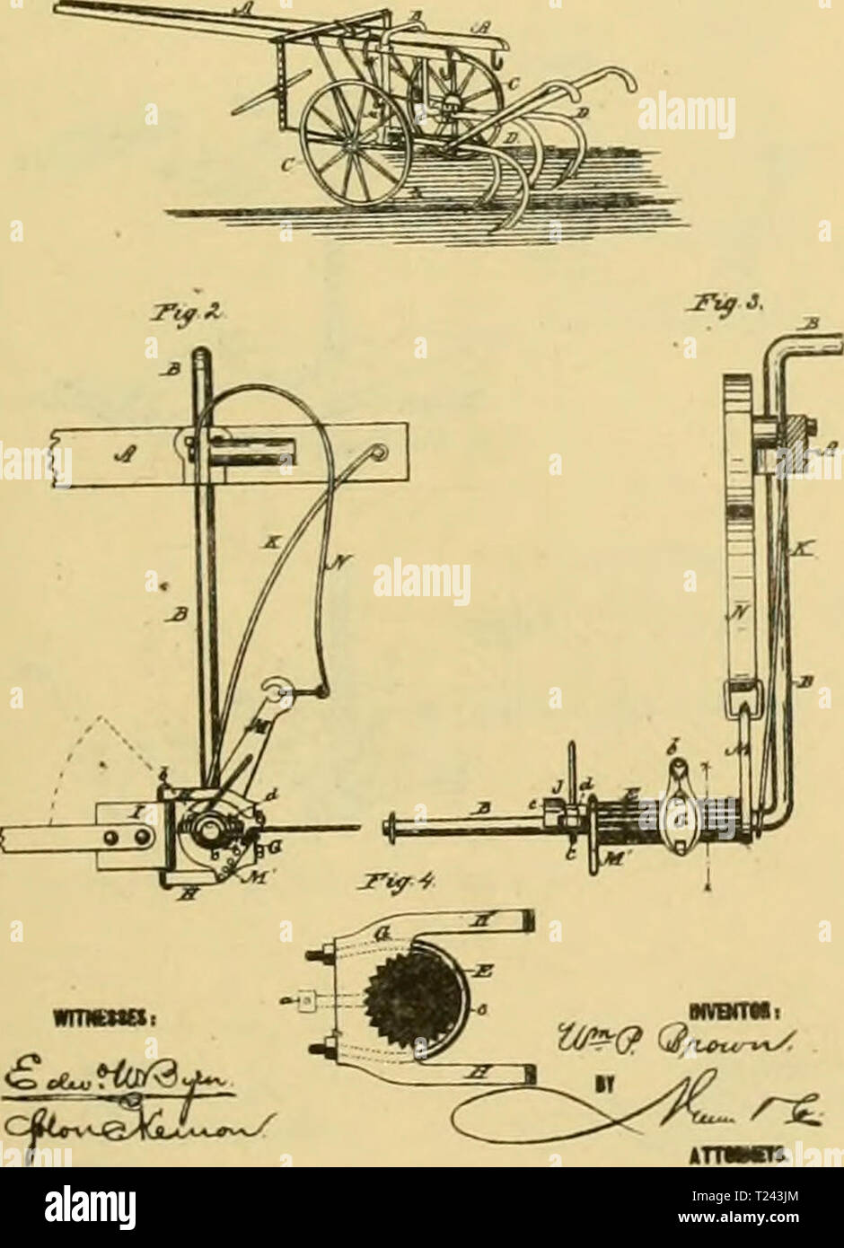 Archive image from page 720 of Digest of agricultural implements, patented Digest of agricultural implements, patented in the United States from A.D. 1789 to July 1881 ..  digestofagricult02alle Year: 1886  a- Cti-u JJitt W. p. BROWN. COUPLISQS FOR CULTIVATORS. »,. 190,816. P.1....4 H.y 16. H'. Patented Oct. 9, 1877. - Stock Image