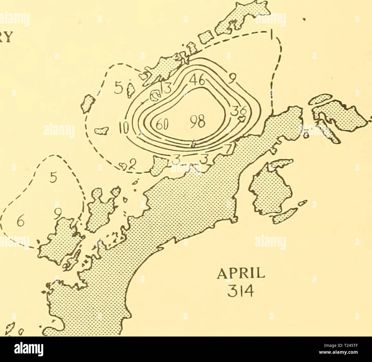 Archive image from page 251 of Discovery reports (1932) Discovery reports  discoveryreports06inst Year: 1932  APRIL 314 SCALE OF NAUTICAL MILES. MARCH 365  100 200 Distribution of Fin whales taken on the South Shetland grounds in season 1924-5 300 - Stock Image