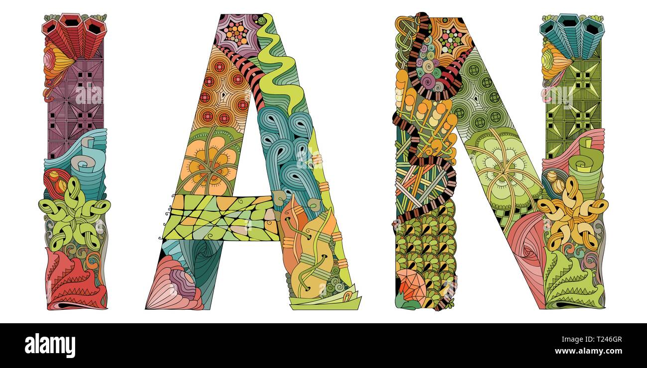 Hand-painted art design. Hand drawn illustration male name ...