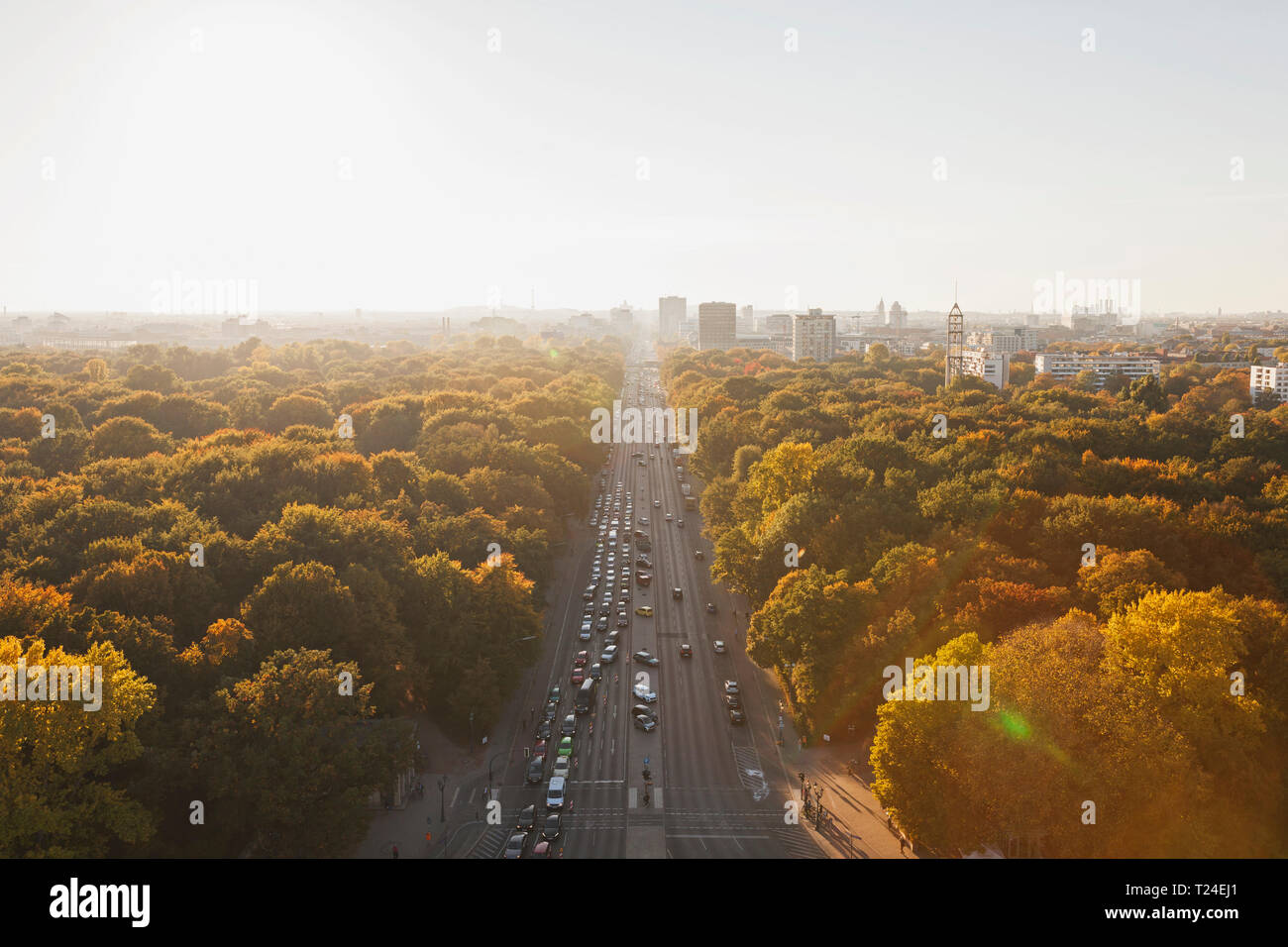 Germany, Berlin, view to Großer Tiergarten with Strasse des 17. Juni  from Victory Column in autumn - Stock Image