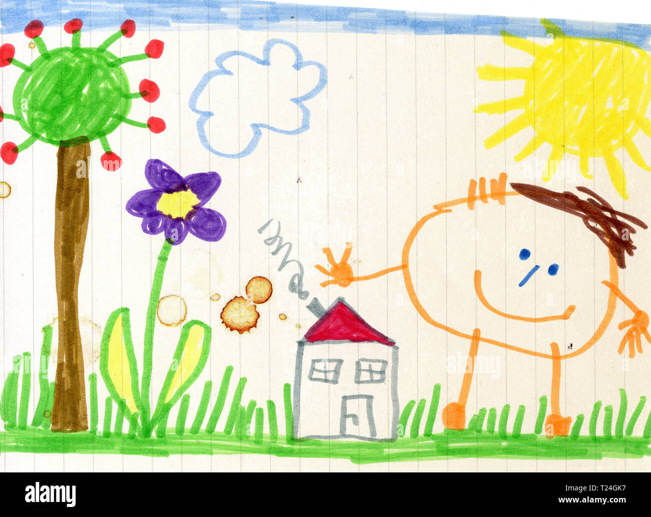 Childs Drawing House Garden Stock Photos Childs Drawing House