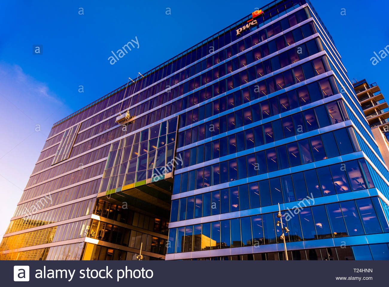 One of the skyscrapers of the Barcode project in Bjorivka district of Oslo, Norway, Dronning Eufemias gate 16, by architect Dark Arkitekter. - Stock Image