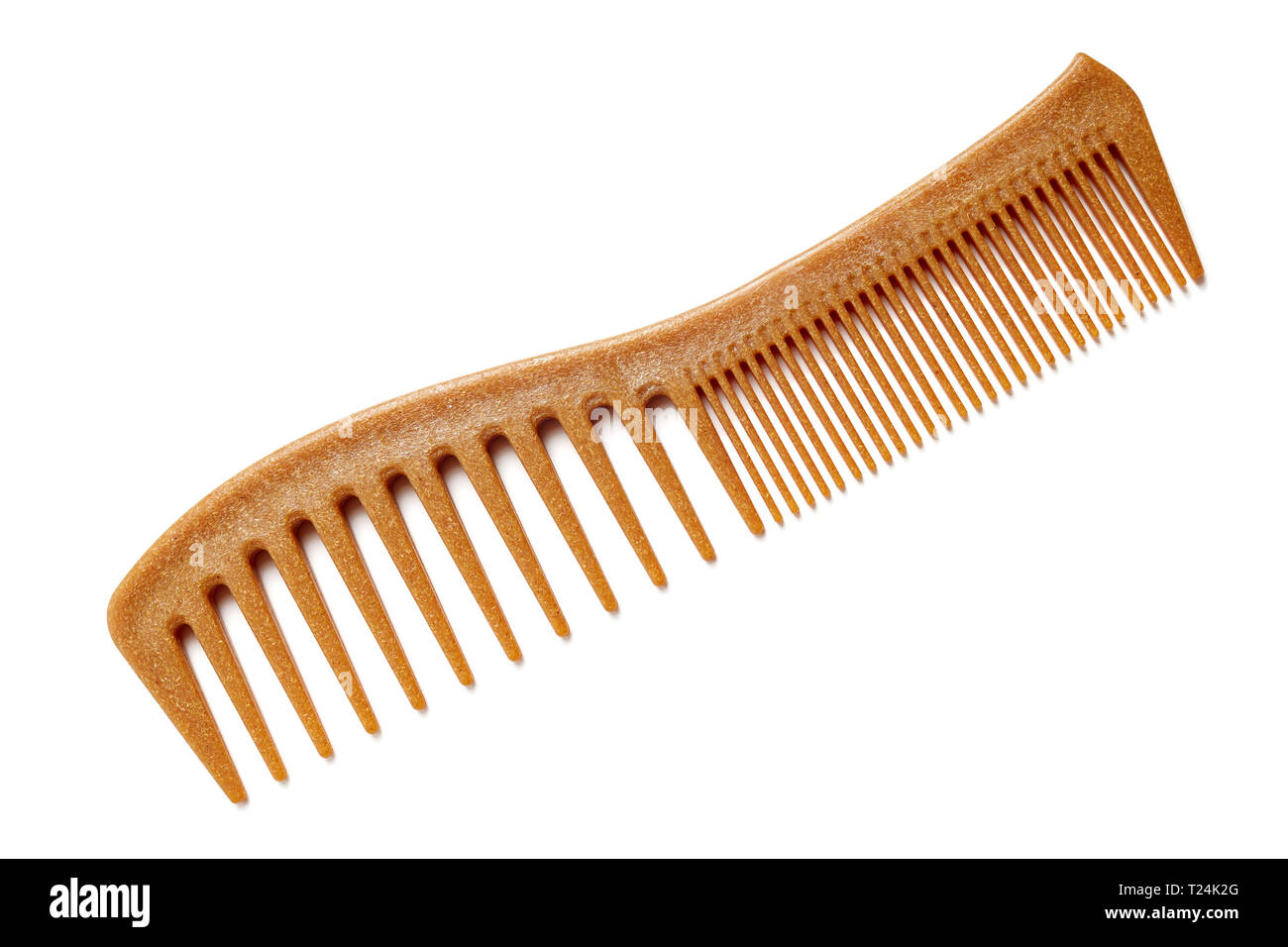 Natural Bamboo Hair Comb On White Background - Stock Image