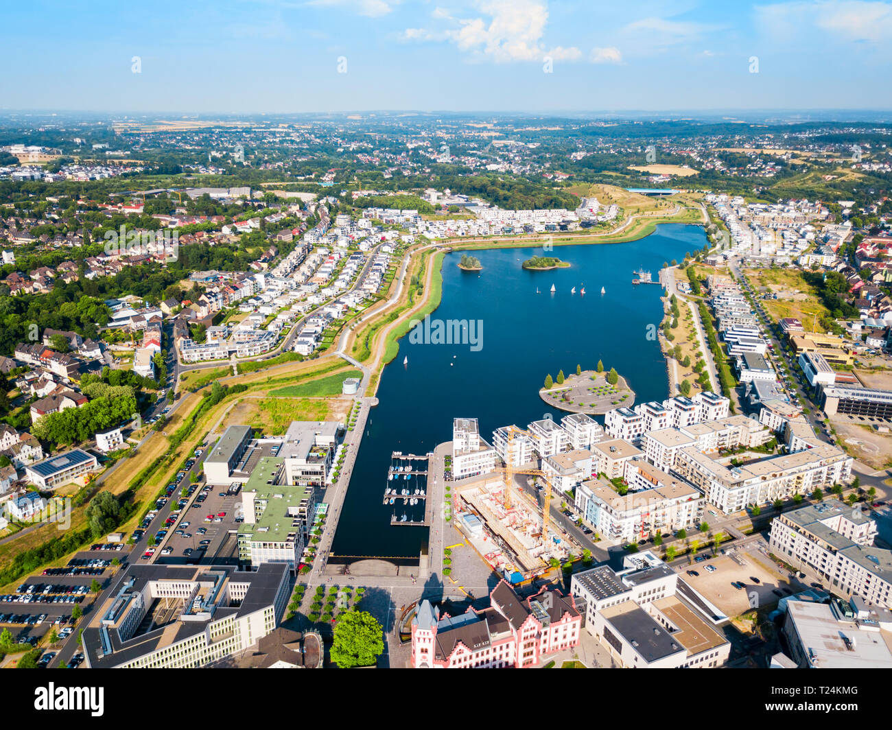 Phoenix See lake is an artificial lake on the former steelworks Phoenix East in Dortmund district Horde Stock Photo