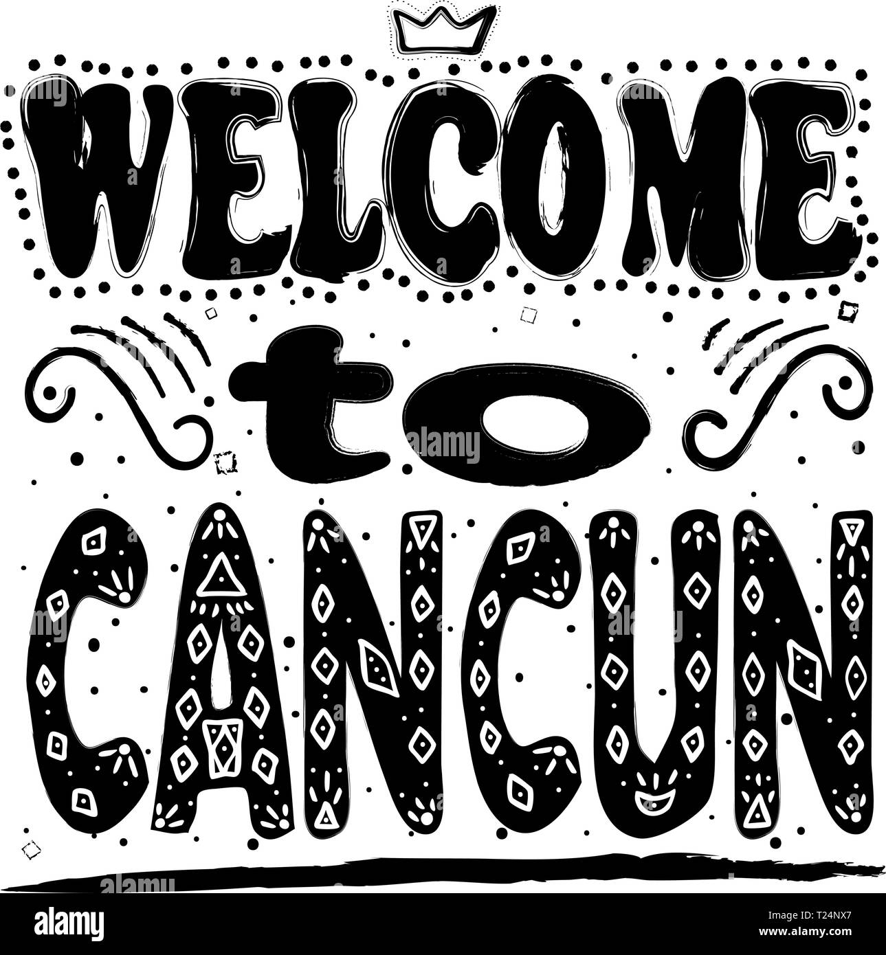 Welcome to Cancun. Is a city in southeastern Mexico on the northeast coast of the Yucatan Peninsula. Hand drawing, isolate, lettering, typography, fon - Stock Vector