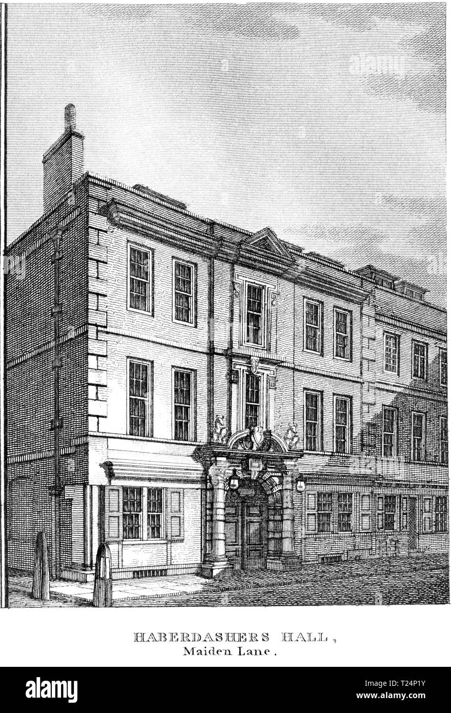 An engraving of Haberdashers Hall, Maiden Lane, London UK scanned at high resolution from a book published in 1814. Believed copyright free. - Stock Image