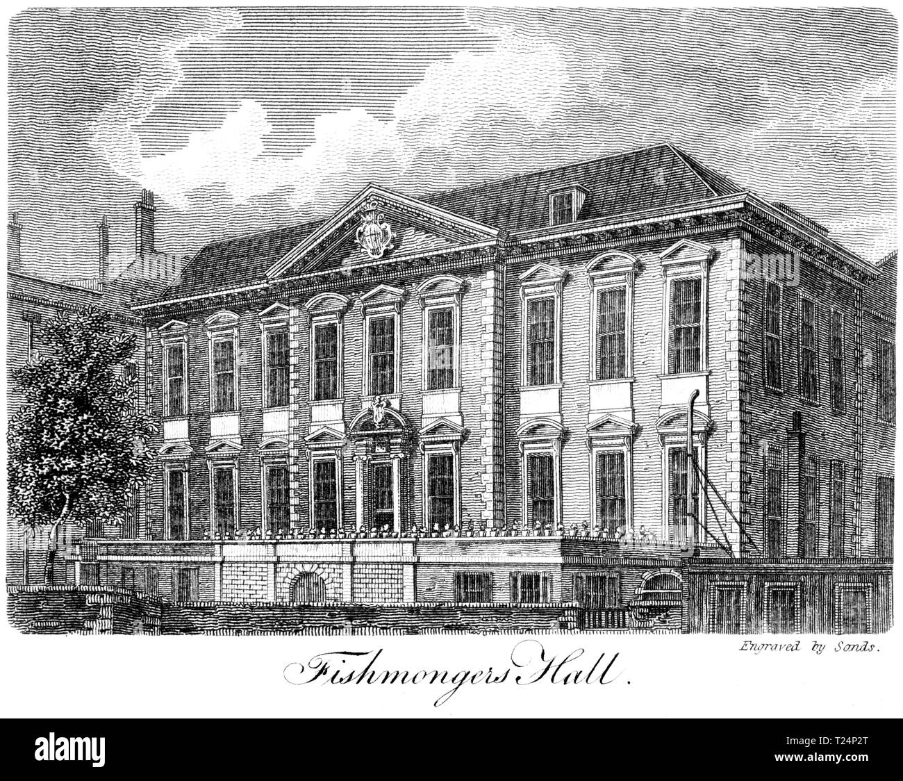 An engraving of Fishmongers Hall, London UK scanned at high resolution from a book published in 1814. Believed copyright free. - Stock Image