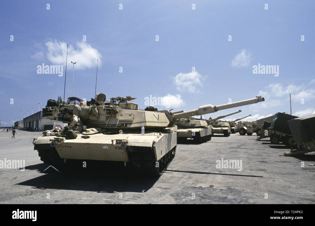b522ec26493997 30th October 1993 U.S. Army M1A1 Abrams tanks of the 24th Infantry  Division, 1st Battalion of the 24th Infantry Division, 1st Battalion of the  64th Armored ...