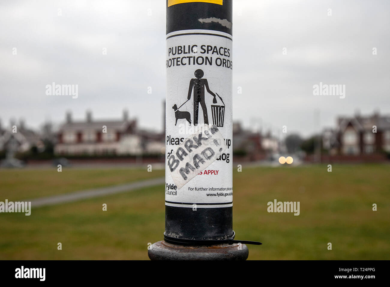 Defaced Fylde Council Public Space Protection Order notice, Blackpool, UK - Stock Image