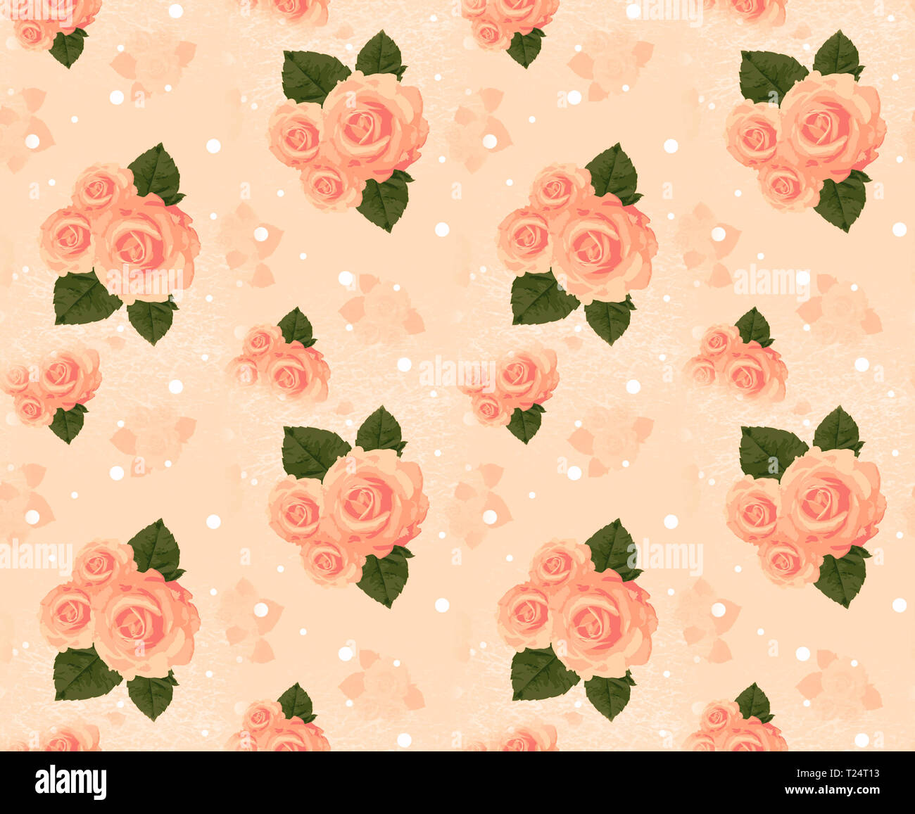 Seamless wall-paper with roses, cream. A vintage decorative pattern, a print for fabric, interior design, wedding invitation, a background. A basis fo - Stock Image