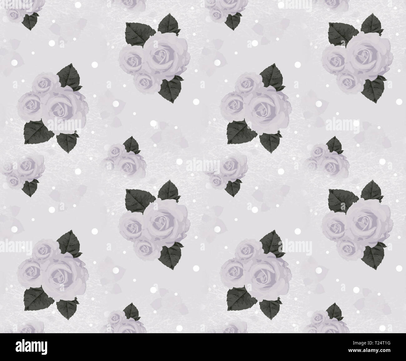 Seamless wall-paper with roses, gray. A vintage decorative pattern, a print for fabric, interior design, wedding invitation, a background. A basis for - Stock Image