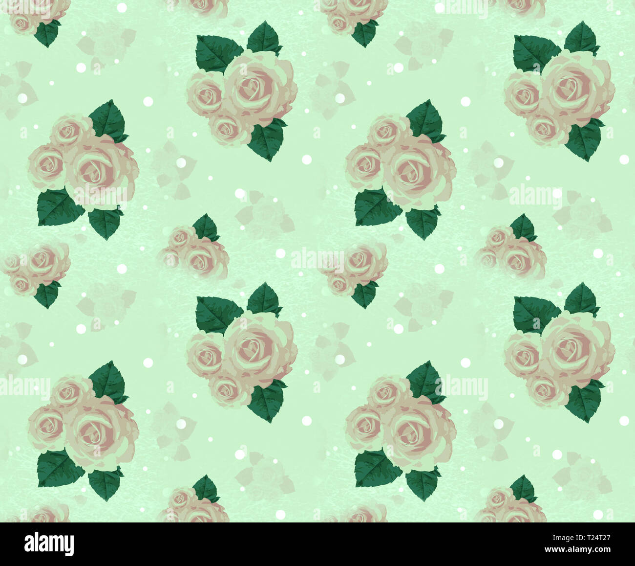 Seamless wall-paper with roses, green. A vintage decorative pattern, a print for fabric, interior design, wedding invitation, a background. A basis fo - Stock Image