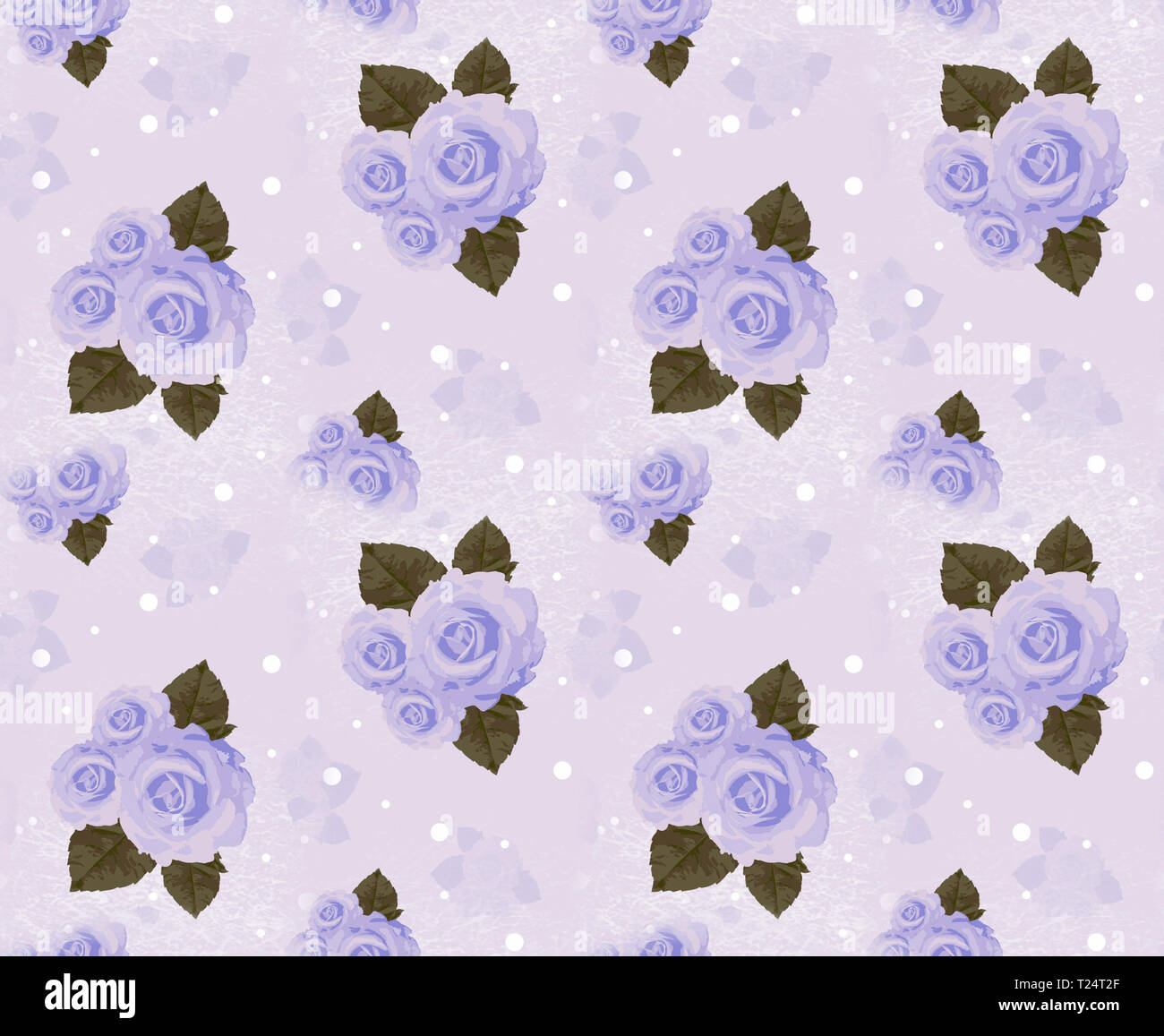 Seamless wall-paper with roses, lavender. A vintage decorative pattern, a print for fabric, interior design, wedding invitation, a background. A basis - Stock Image